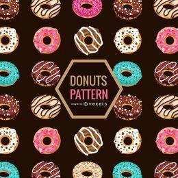 Padrão de donuts sem costura ilustrado plana