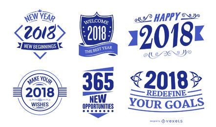 2018 New Year badges set