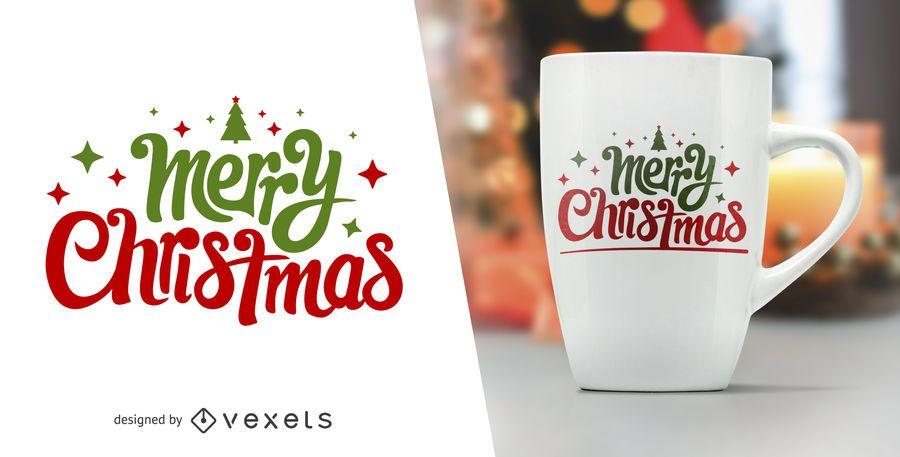 Merry Christmas lettering for merchandise