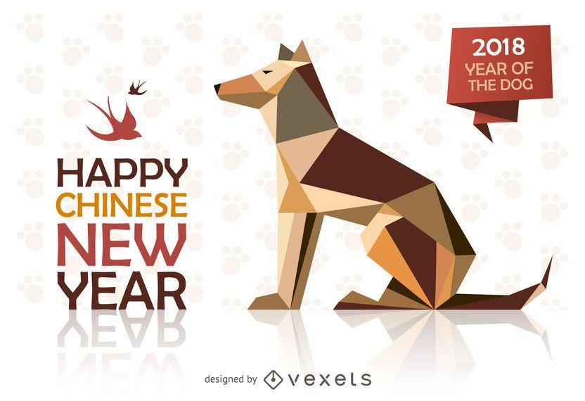 Diseño de año nuevo chino bajo poli
