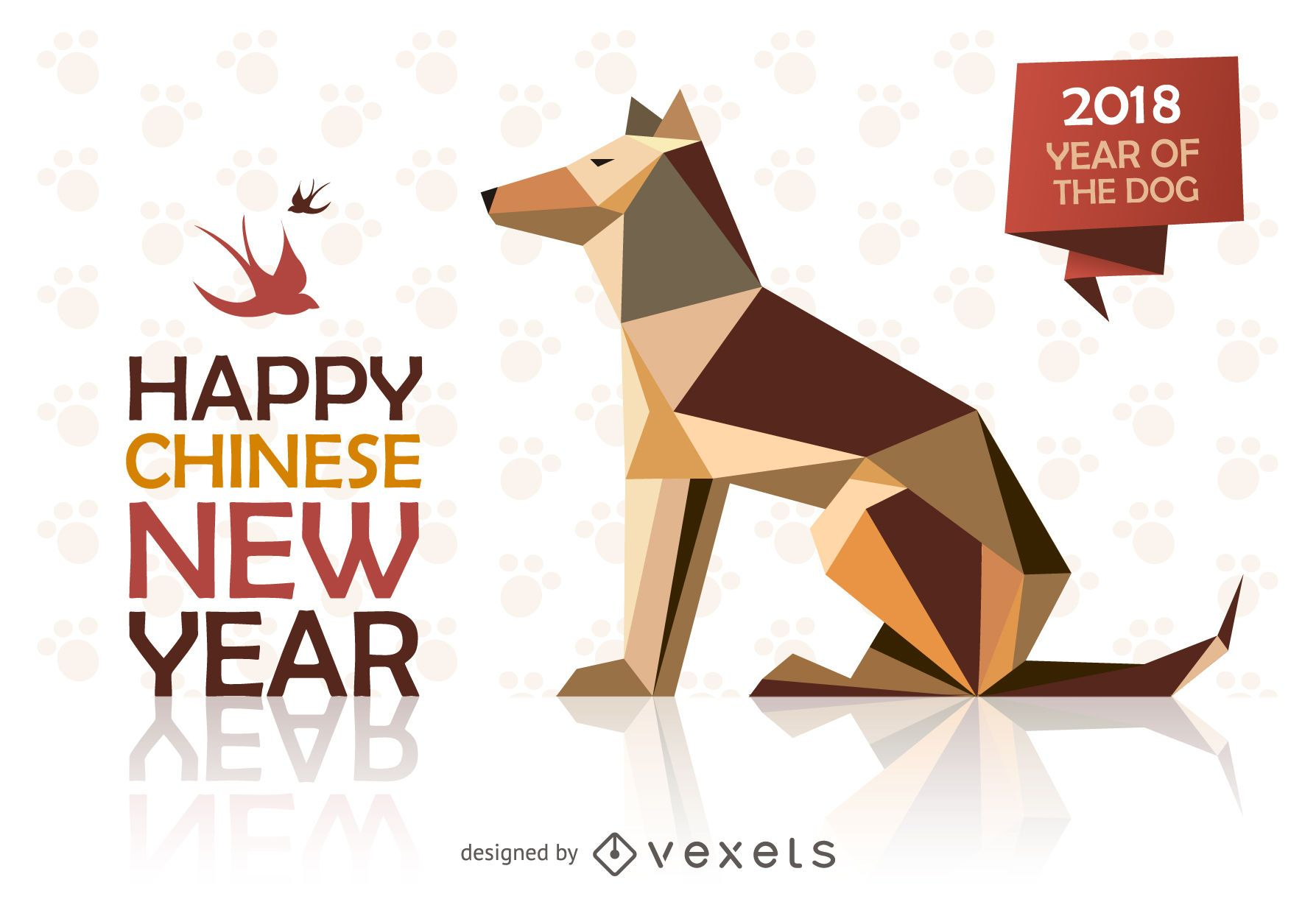 Low poly Chinese New Year design