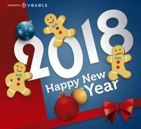 Cartel festivo de año nuevo 2018