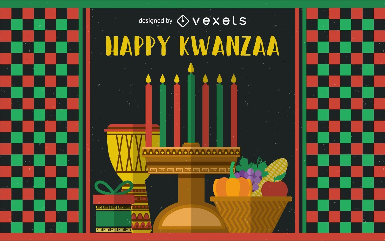 Festive kwanzaa greeting card vector download image user m4hsunfo