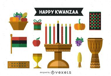 Flaches Kwanzaa-Elementset
