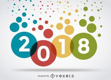 Colorido signo de 2018 puntos