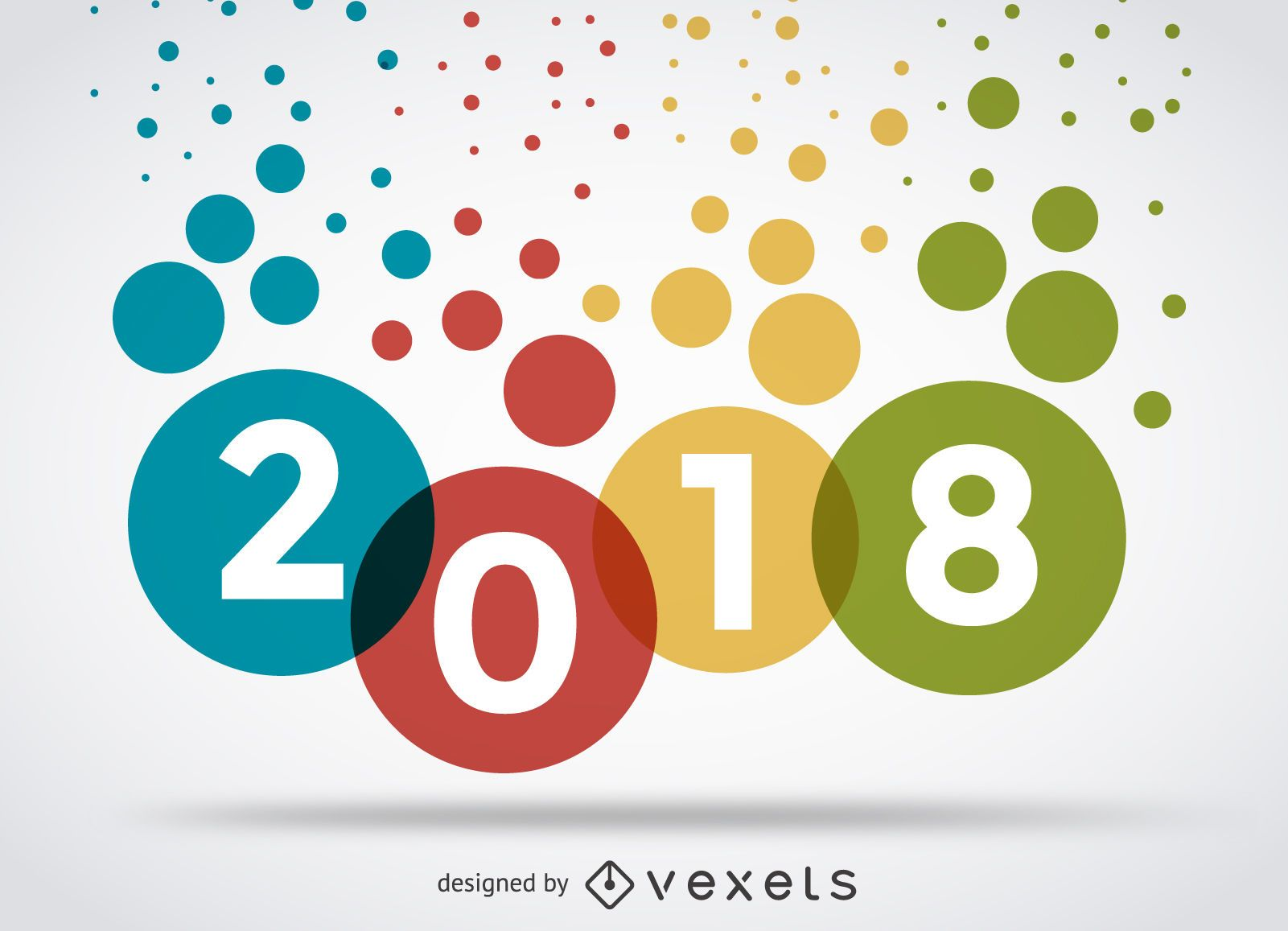 Colorful 2018 dots sign