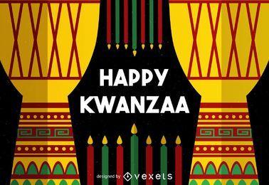 Tarjeta de felicitación colorida de Kwanzaa
