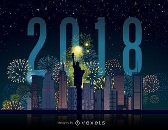 Horizonte de fuegos artificiales de Nueva York 2018
