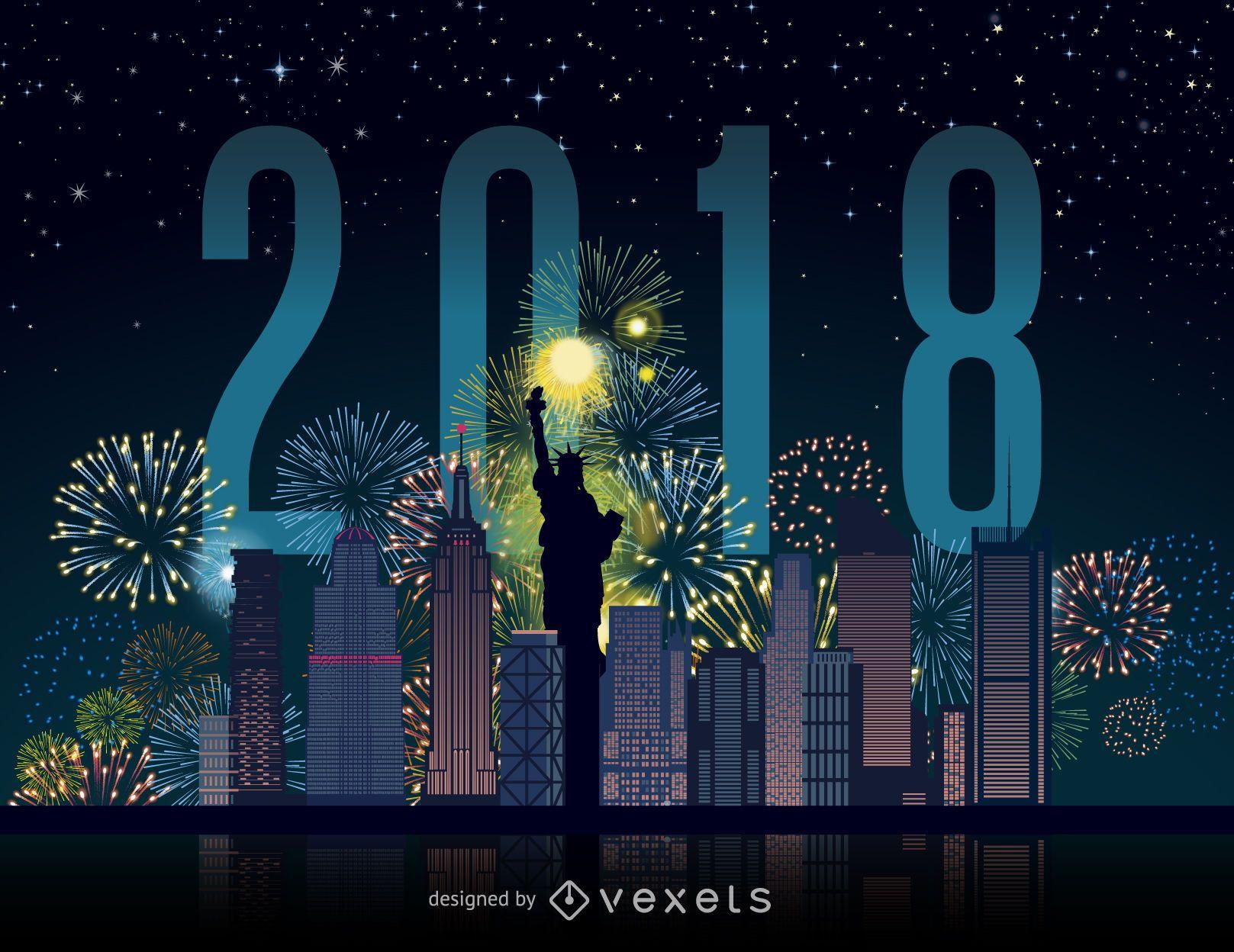 2018 new york city fireworks skyline vector