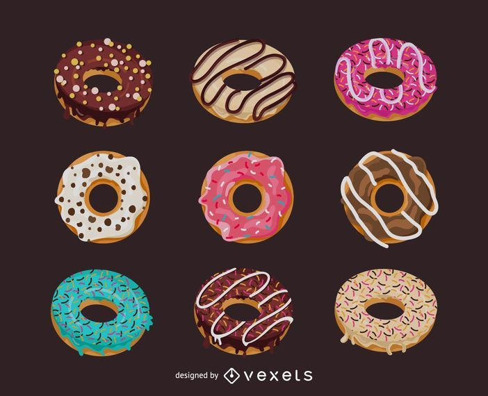 Set of illustrated donuts