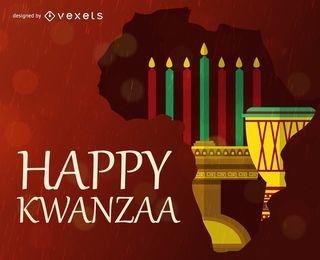 Tarjeta de felicitación de Kwanzaa feliz con elementos tradicionales