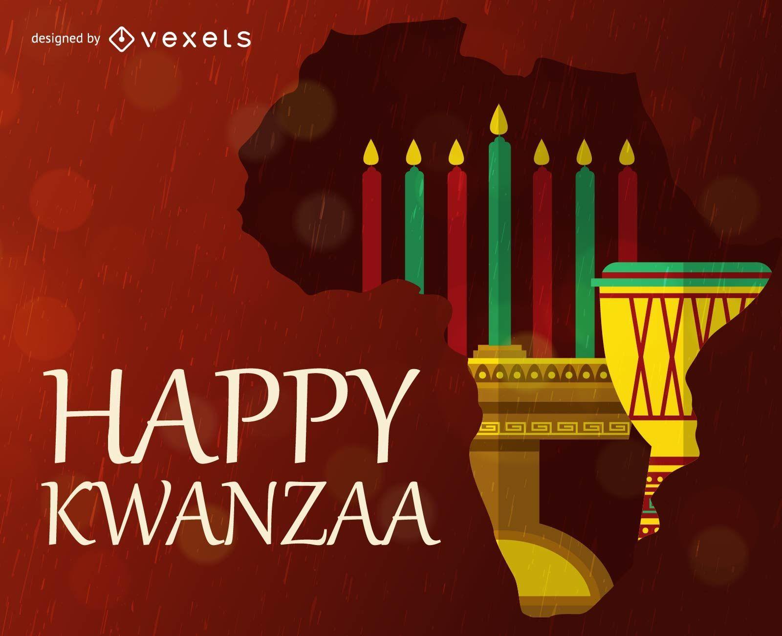 Feliz tarjeta de felicitación de Kwanzaa con elementos tradicionales
