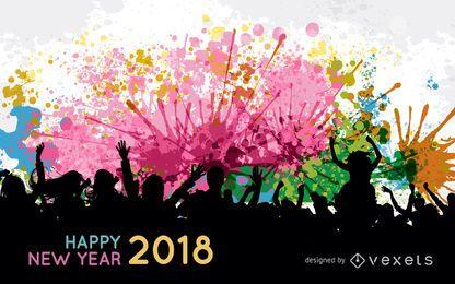 Sinal de silhueta colorida de 2018 no ano novo