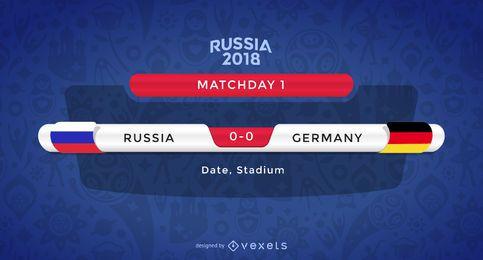 Rússia 2018 combinar fabricante de gráficos
