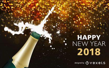 Champagne popping 2018 Año Nuevo