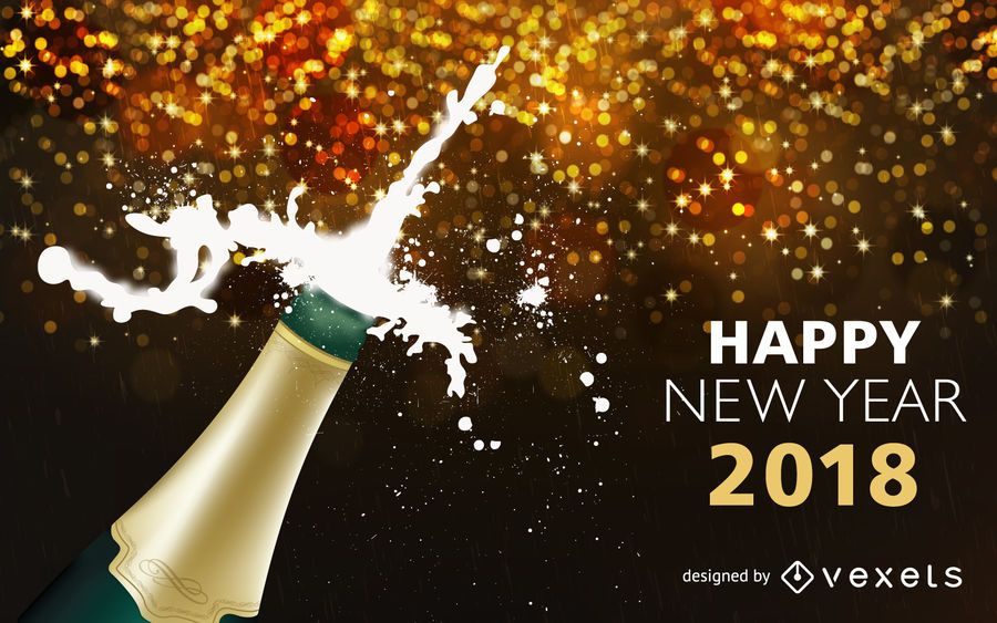 Champanhe, estourando, 2018, ano novo