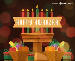 Flat Happy Kwanzaa greeting card