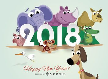 Cartoon animals 2018 New Year greeting card