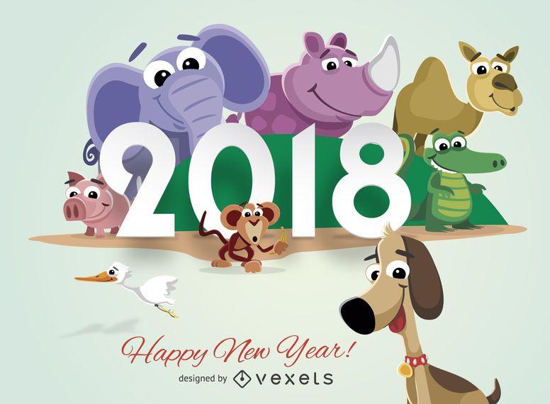 Tarjeta de felicitación de año nuevo de animales de dibujos animados 2018