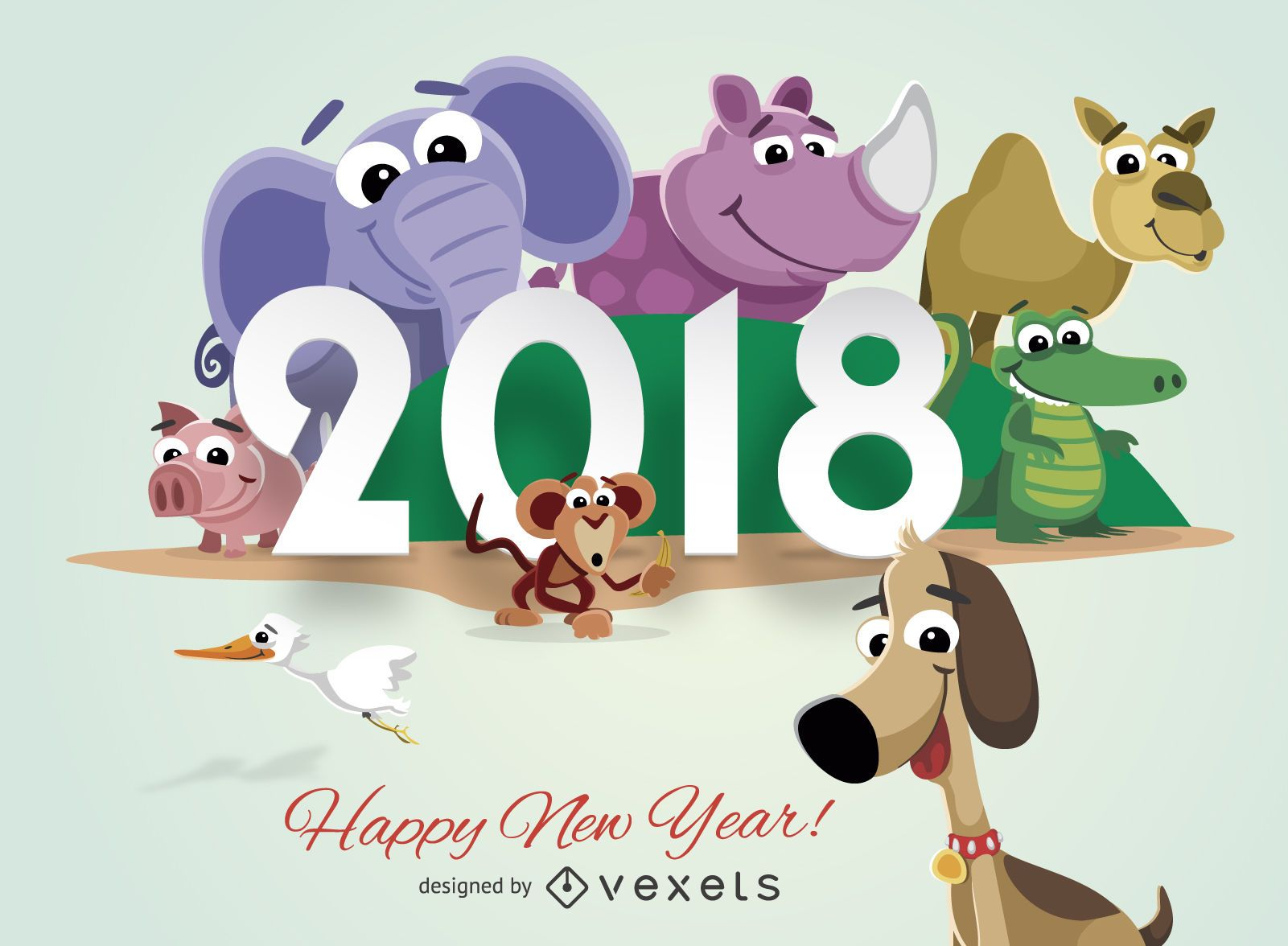 cartoon animals 2018 new year greeting card download large image 1601x1176px license image user