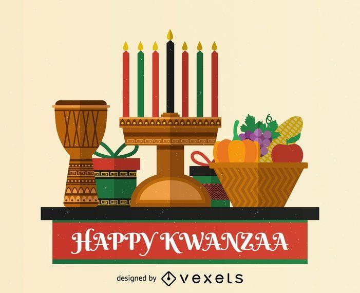 Flat Kwanzaa greeting card design