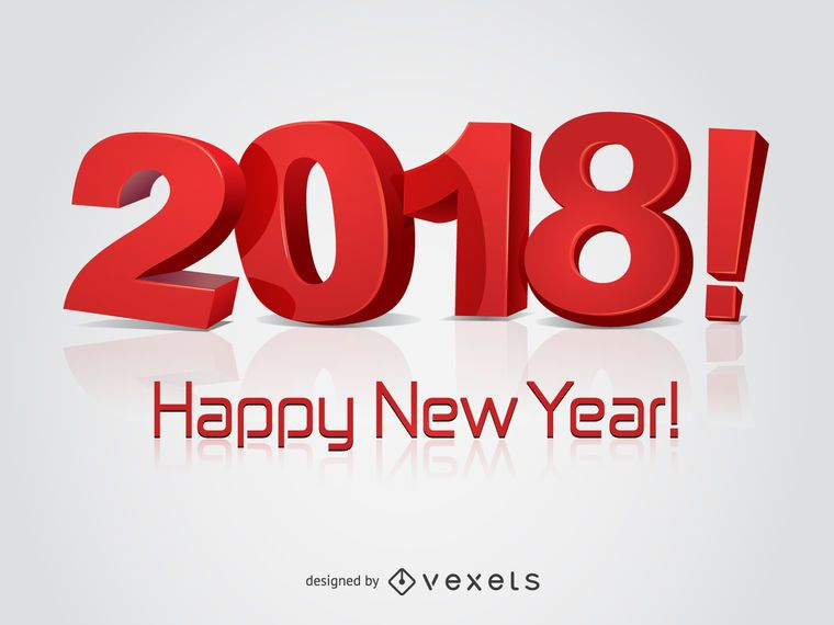 Red 2018 New Year greeting card