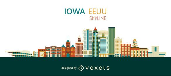 Colorful Iowa skyline design
