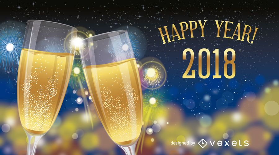 Sinal de design de ano novo de 2018 com champanhe