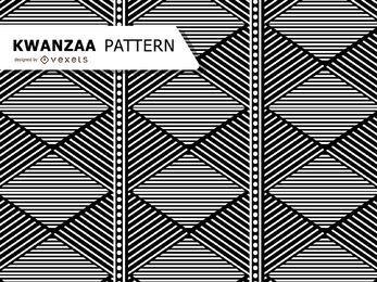 Patrón Kwanzaa geométrico blanco y negro