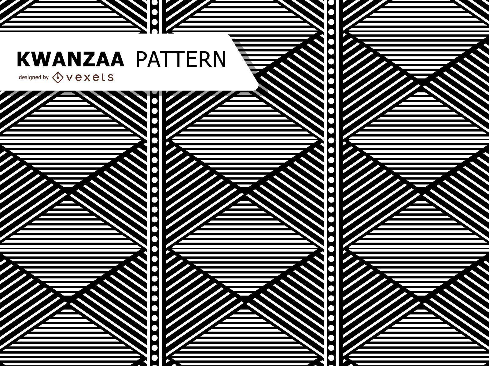 Black and white geometric Kwanzaa pattern
