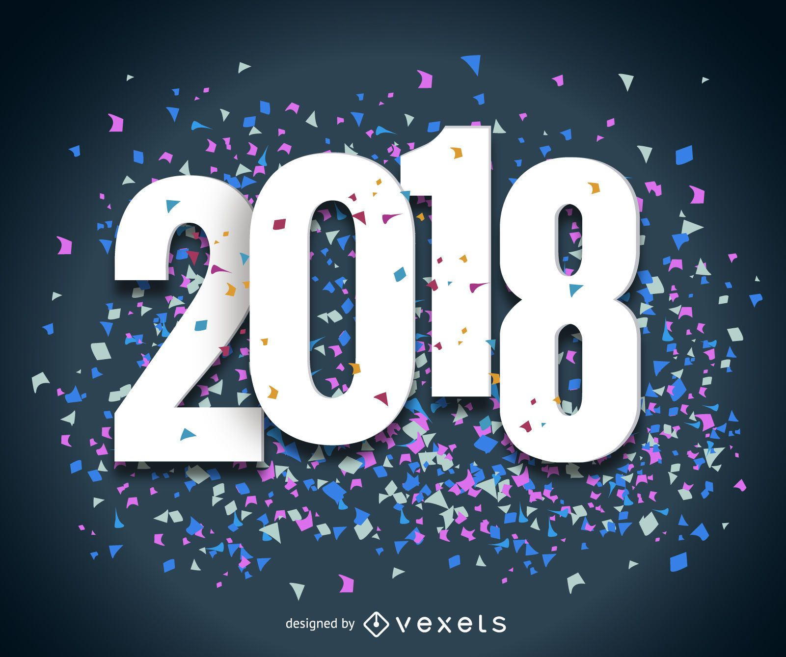 Big confetti 2018 New Year sign - Vector download