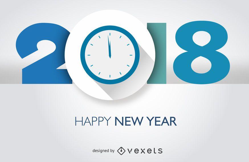 2018 diseño de año nuevo con reloj