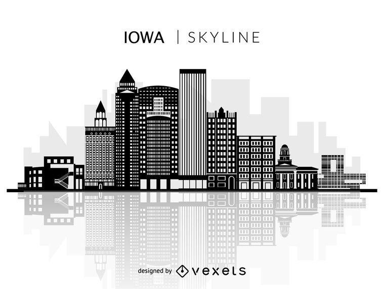 Skyline de silhueta de Iowa
