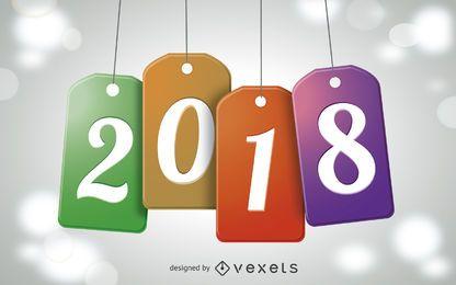 Ilustração de tag de ano novo de 2018