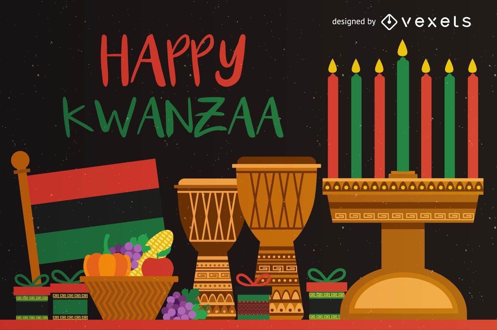 Tarjeta de felicitación colorida feliz Kwanzaa