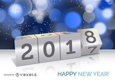 Cartel del concepto de año nuevo 2018