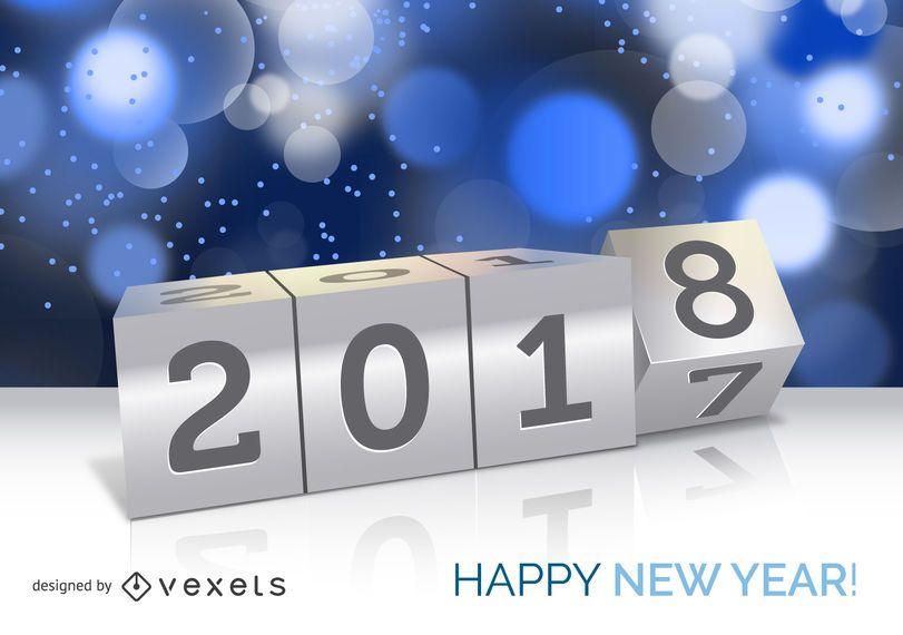Cartaz de conceito de ano novo de 2018