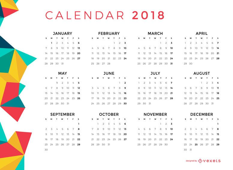 Calendário mensal poligonal de 2018