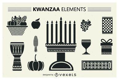 Conjunto de siluetas kwanzaa.