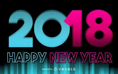 Cartaz Neon 2018 de Ano Novo