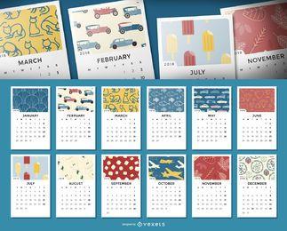 Calendário mensal de 2018 com ilustrações