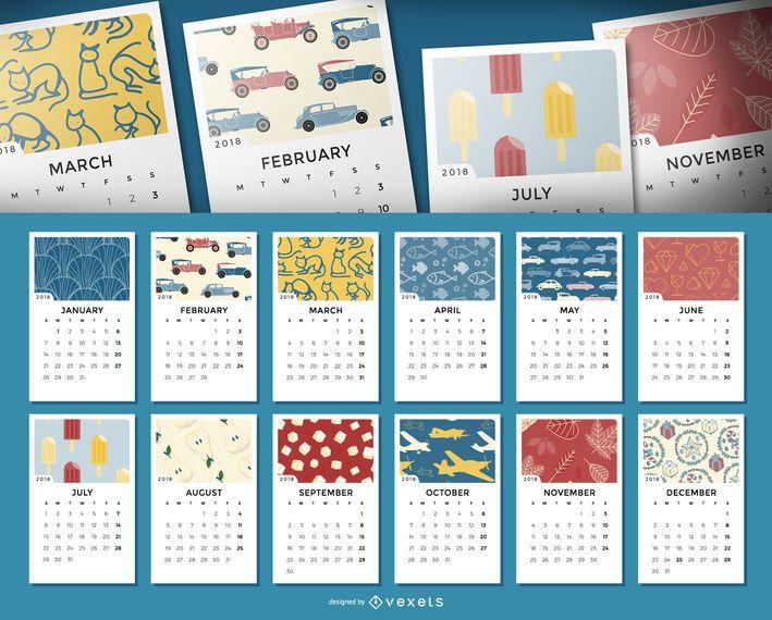 Calendario mensual de 2018 con ilustraciones.