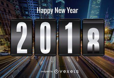 Cartel futurista de año nuevo 2018