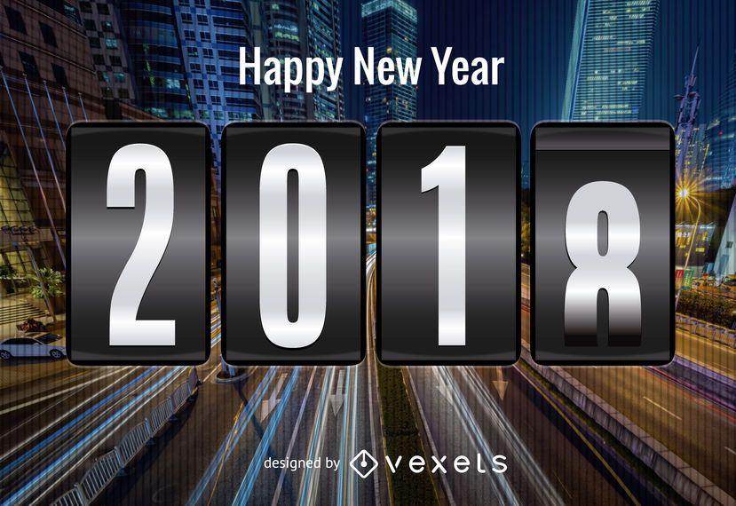 Cartaz de ano novo 2018 futurista