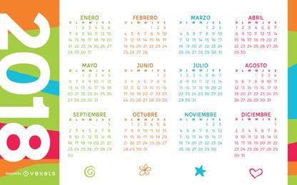 Calendário colorido de 2018 em espanhol