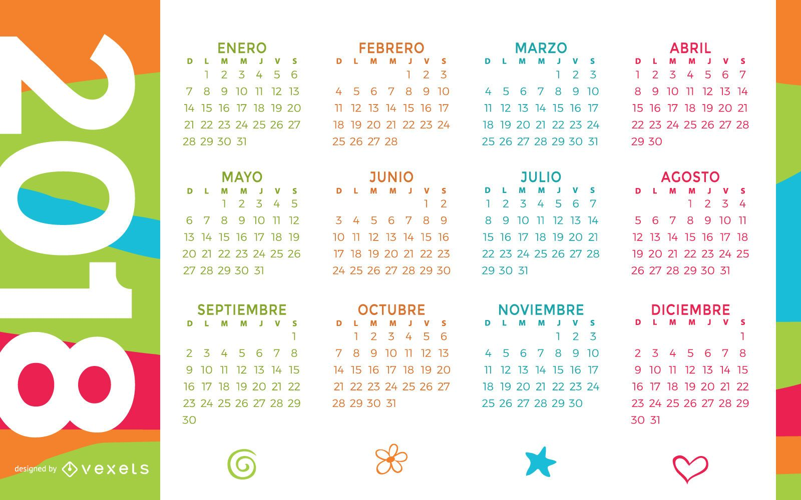 colorful 2018 calendar in spanish download large image 1600x1000px license image user