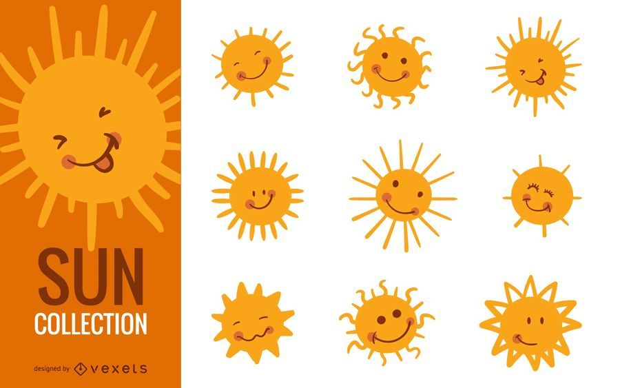 Funny sun cartoon illustration set