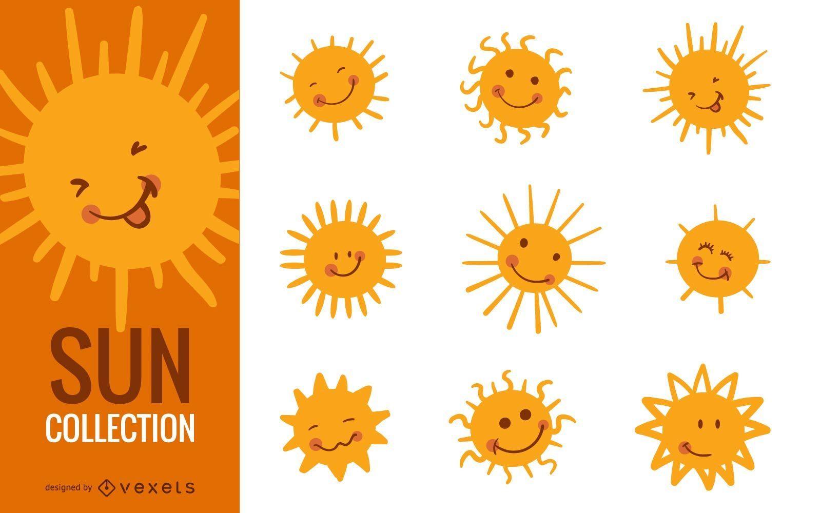 Conjunto de ilustração de desenho animado do sol engraçado