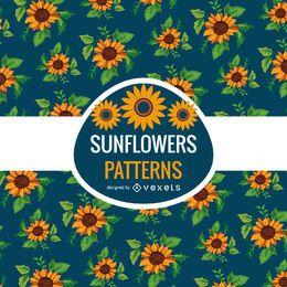 Nahtloses erläutertes Sonnenblumenmuster