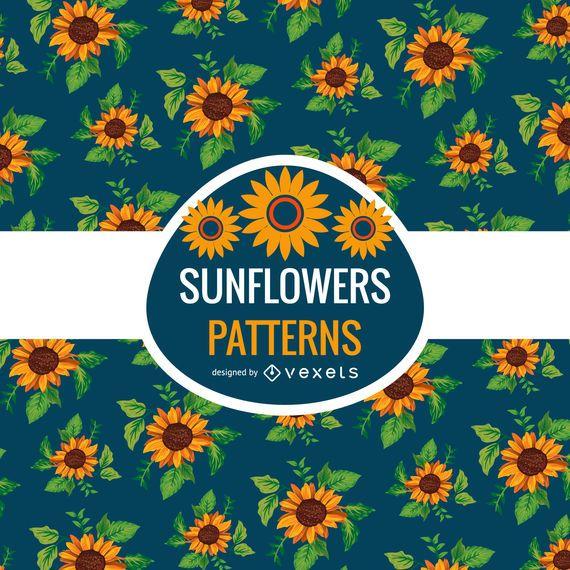 Seamless illustrated sunflowers pattern